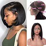 ALI BFF Brazilian Straight Virgin Human Hair Lace Front Wigs Knots Bleached Short Bob Hair Afro Wigs Pre-Plucked with Baby Hair Natural Hairline(10 inch)