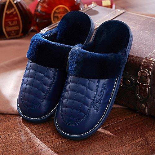 DogHaccd pantofole,Il cotone pantofole inverno femmina home interior coppie costolette di manzo pelle spessa resistente all'acqua anti-slittamento inverno caldo uomini pantofole Blu scuro3