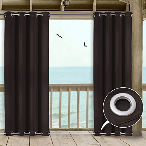 NICETOWN Outdoor Curtain Panel for Patio - All Season Home Decoration Thermal Insulated Outdoor Top and Bottom Grommets Blackout Curtain/Drape, Wind-Breaks (1 Panel,52-Inch x 108-Inch, Toffee Brown)
