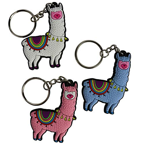 Llama Key Chains - 3 Pack, Alpaca Gifts for Girls | Keychain for Backpack, Handbag, Purse, Wallet, Pendant Car Keys | Party Favors Supplies, Bag Hanging Decorations, Cool Accessories for School