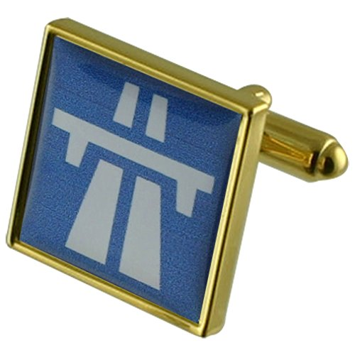 Motorway Driver Gold-tone Square Cufflinks with Engraved Personalised Case