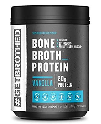 Original Bone Broth Protein Powder (30 Full Servings)   Vanilla   Paleo Protein, Keto & Low Carb Friendly Supplement for Gut & Joint Support   Non GMO, Gluten Free, Soy Free & Dairy Free