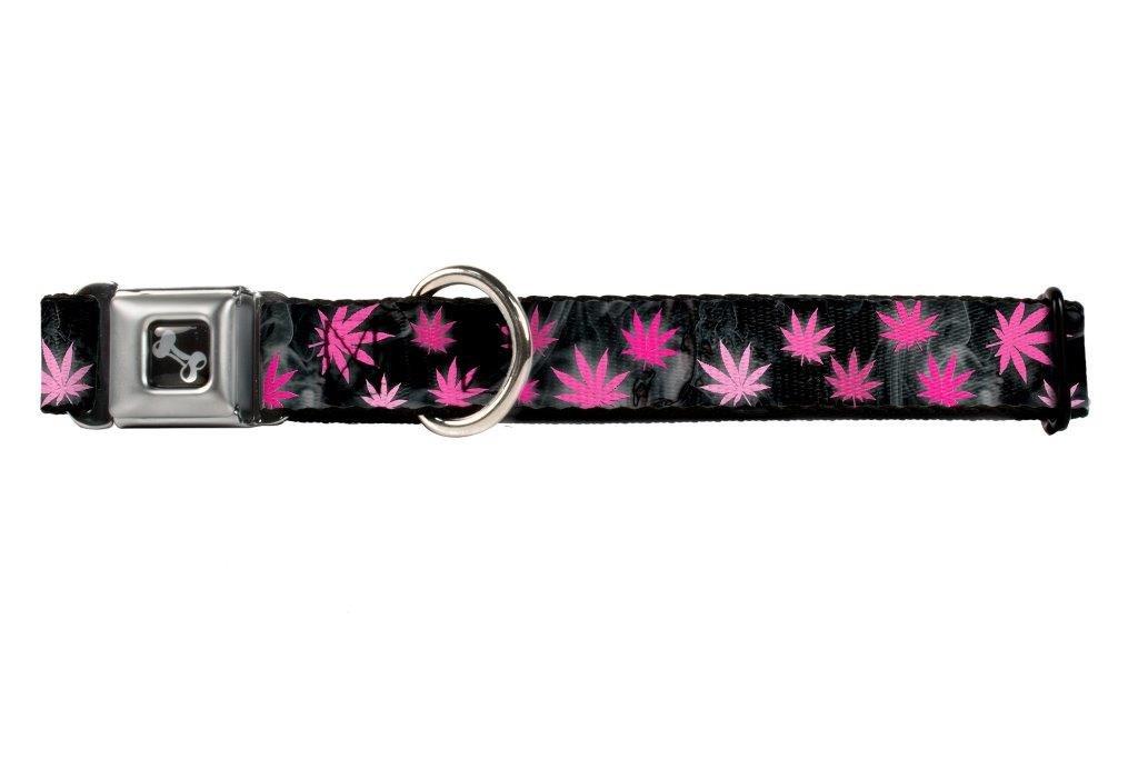 Buckle-Down Seatbelt Buckle Dog Collar Pot Leaves Smoke Black Pink White 1.5  Wide Fits 16-23  Neck Medium