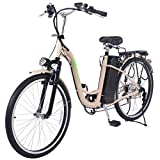 Classic Bicycle Electric E-Bike 250W 26 Inch Lithium Battery, Beige Color