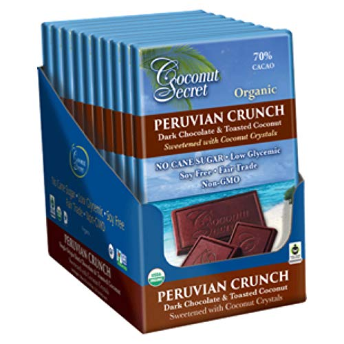 ian Crunch (12 Pack) - 2.25 oz - Gourmet Dark Chocolate & Toasted Coconut Bar, Sweetened with Coconut Crystals - Low-Glycemic, Organic, Non-GMO ()