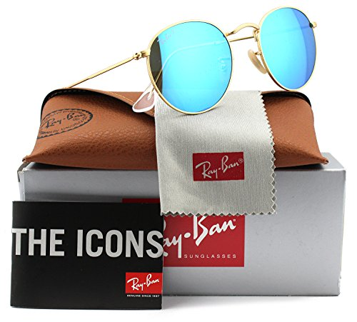 Ray-Ban RB3447 Round Metal Polarized Sunglasses Matte Gold w/Blue Mirror (112/4L) 3447 1124L 50mm - Ray Polarized Rb3447 Ban