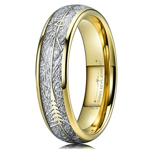 Three Keys 6mm Tungsten Wedding Ring for Women Domed Imitated Meteorite Arrows Inlay Gold Meteorite Wedding Band Engagement Ring Promise Ring Size ()