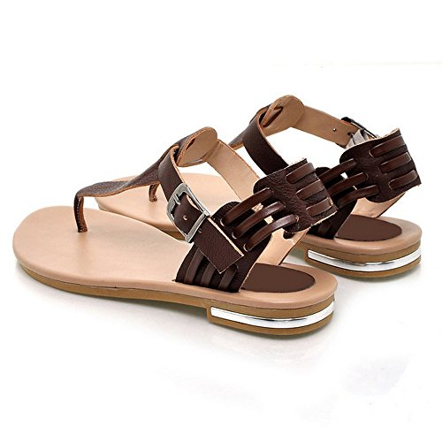 LongFengMa Retro Ladies Clips toe Buckle Flats Thongs Sandals Shoes Brown 5wnNOCUh