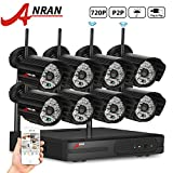 ANRAN 8 Channel WIFI 720P NVR Wireless Security Camera System with 8 outdoor/Indoor 720P 48 IR for Day Night Vision IP Camera Plug&Play No hard drive