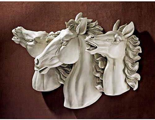 Design Toscano Stallion Stampede Wild Horse Wall Sculpture, Antique Stone
