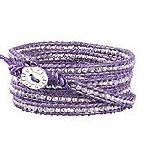 KELITCH Friendship Silver Beaded 5 Wrap Bracelet Handmade Purple Leather Link bracelet Fashion