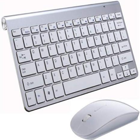 LLLLDDLLLDM - Teclado Bluetooth para Smart TV, Ordenador, portátil, Reproductor Multimedia, diseño Compacto, Juego de ratón y Teclado Plateado Plata 285 × 133mm: Amazon.es: Informática