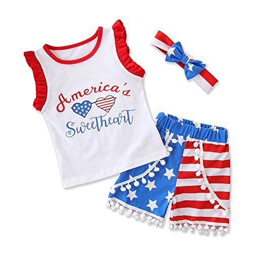 - Calsunbaby 4th of July Outfit Baby Girl USA Flag Stripe&Stars Ruffle Sleeve T-Shirt Demin Shorts Outfit with Headband (White, 2-3 Years)