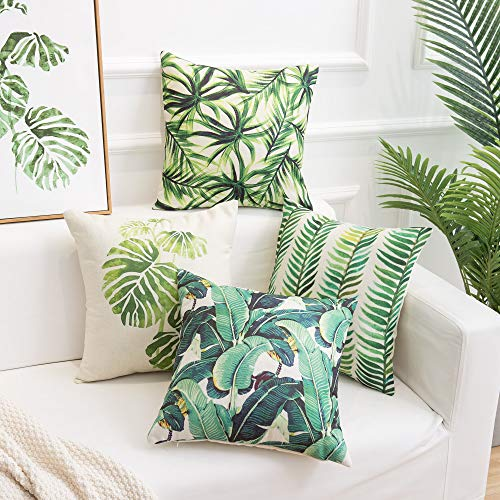 famibay Pack of 4 Tropical Rainforest Pillow Covers Cotton Linen Tropical Palm Leaves Cushion Covers Square Decorative Pillowcases for Sofa Couch Bed Patio 18×18 ()