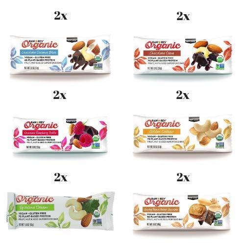 (Raw Rev Organic, Vegan, Plant-Based, Gluten-Free, Non-GMO, Kosher Protein Bars (12-Pack Variety))