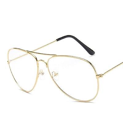 WODISON gafas de sol de aviador de la vendimia reflectante lente de espejo (Lente transparente de marco de oro): Ropa y accesorios