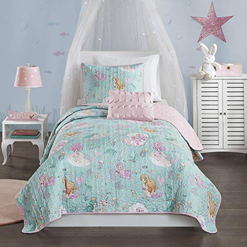 Mi Zone Kids Darya Reversible Mermaid Clam Shell Sea Ocean Whale Fish Printed Scale Decor Soft Texture Down Alternative Hypoallergenic All Season Coverlet Quilts Bedding-Set, Twin, Aqua/Pink (Bedding Quilt Thick)