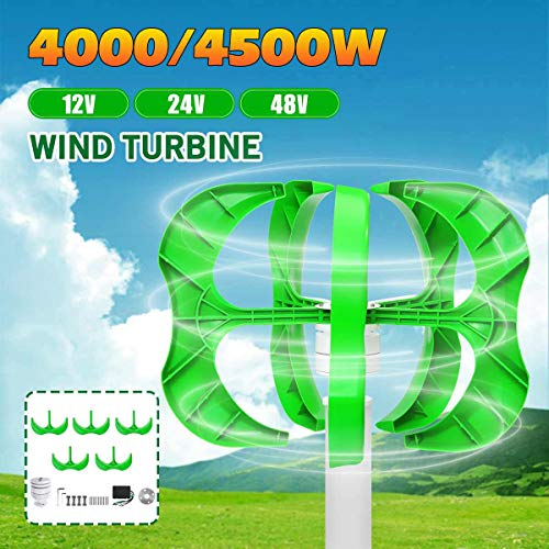 TQ Wind Generator 4500W/4000W 12/24/48V 5 Blades Generator Lantern Wind turbines Vertical Axis for Household Streetlight+Controller,24v,4500W