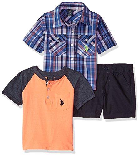 U.S. Polo Assn. Baby Boys Sleeve, T-Shirt and Short Set, just Peachy Multi Plaid 24M -