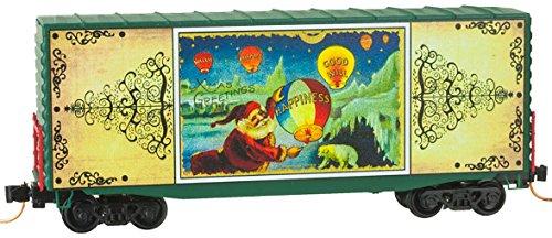 Micro-Trains MTL N-Scale 40ft Box Car Christmas Postcards 2014 Santa's Balloons