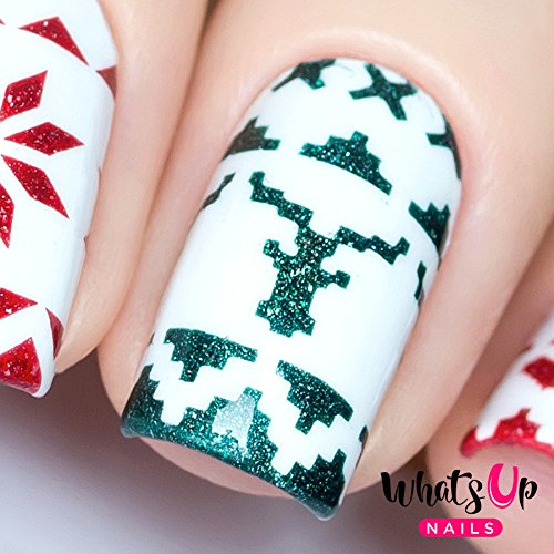 Whats Up Nails - Knit Your Own Sweater Nail Stencils Stickers Vinyls for Nail Art Design (1 Sheet, 84 Strips & Stencils)