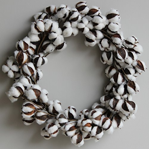 Cotton Wreath (Cotton Boll/Ball Wreath - 16 inches to 21 inches, Adjustable Stems | by Urban Legacy)