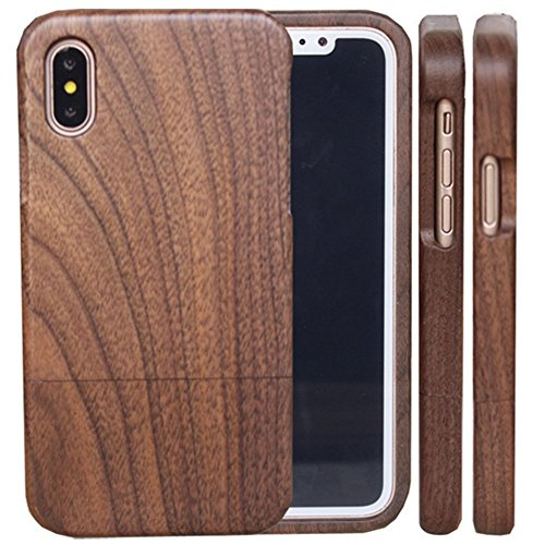 COCO Wood Case, Unique Protective Anti-Shock Shockproof Design Handmade Carved Wooden Case Cover with 100% Natural Real Wood Material Compatible for iPhone Xs Max (Walnut)