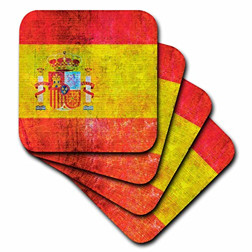 3dRose cst_268086_2 Distressed Style Grunge Flag of Spain, Set of 8 Soft Coasters by 3dRose