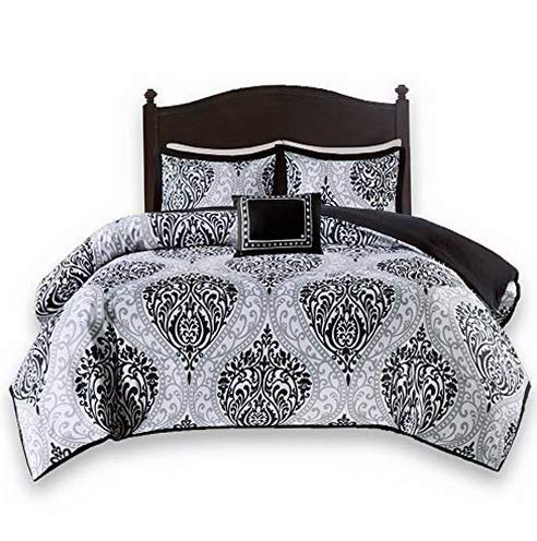 - Hemau Premium New Soft - Coco Comforter Set - 4 Piece - Black and White - Printed Damask Pattern - King Size, Includes 1 Comforter, 2 Sha, 1 Decorative Pillow | Style 503194077