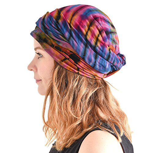 Casualbox Tie-Dye Headband Hippie Bandana Head Wrap Cover Retro Flower 60's 70's B,Free Size ()