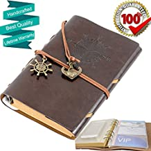 Leather Notebook Journal Travel Journal PU Leather Notebook Diary and Note, Refillable Vintage Classic, Spiral Ring Binder, with PVC Pocket Card Holders, 7 Inches ,Coffee Color