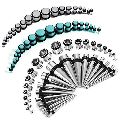 BodyJ4You 72PC Gauges Kit Glow Dark Underwater Acrylic Plugs Steel