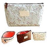 Daoroka Women Cosmetic Makeup Floral Print Cute Storage Pencil Coin Cases Portable Canvas Bag (21cmX12cm, Random)