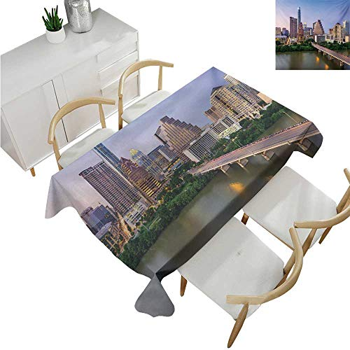 familytaste Modern,Party Table Cloth,Austin Texas American City Bridge Over The Lake Skyscrapers USA Downtown Picture,Table Flag Home Decoration 70