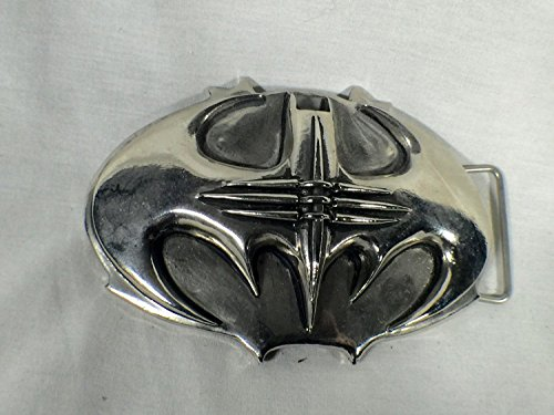 - Batman Forever, Traditional Type Metal Bat Buckle, Silver, with Real Leather Belt