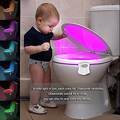 Toilet Night Light Motion Activated LED Light 8 Colors Changing Toilet Bowl light Motion Sensor LED Washroom Light