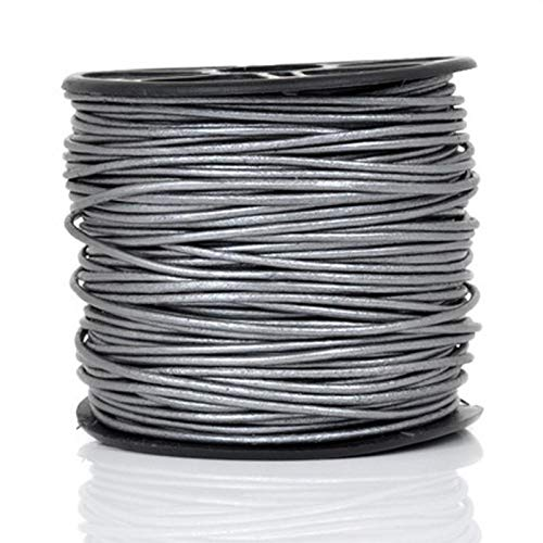Leather Cord-3mm Round-Soft-Metallic Grey-50 Meters