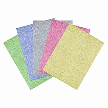 10 Sheets of A5 Premium Glitter FOAM Sheets Assorted Colours Scrapbook Crafts