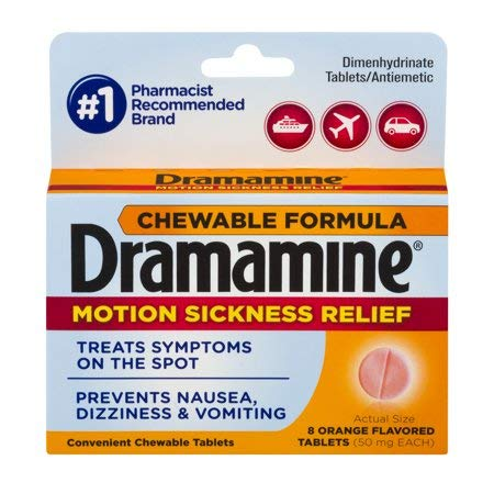Dramamine Motion Sickness Relief Chewable Tablets, Orange Flavored, 8 Count (Pack of 2) gh$lac ()