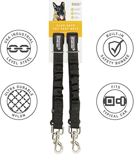 Friends Forever Cat Car Dog Seat Belt, Vehicle Harness Tether Lead, Pet Restraints Connector for Cars, 2-Pack Adjustable Black Nylon