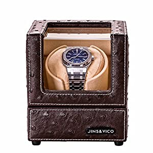 Single Watch Winder with Flexible Plush Pillow for Rolex Omega Automatic Watches, Japanese Motor 4 Rotation Mode Quiet Watch Winders for Mens and Ladies, Dark Coffee