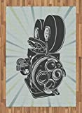Modern Area Rug by Lunarable, Vector Carton Poster like Print Flm Movie Camera Image Artwork Print, Flat Woven Accent Rug for Living Room Bedroom Dining Room, 5.2 x 7.5 FT, Grey Blue and Sky Blue