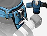 IMZ Professional DSLR Waist Belt with Metal Holder Buckle Hanger, Belt Bag, Dual Cameras Holster for Nikon Canon Sony Pentax Fujifilm Olympus Panasonic DSLR, Lens Cases, Tripods, Accseeories -Blue