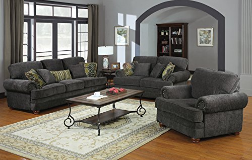 Coaster Colton Traditional Smokey Grey Living Room Chair with Comfortable Cushions