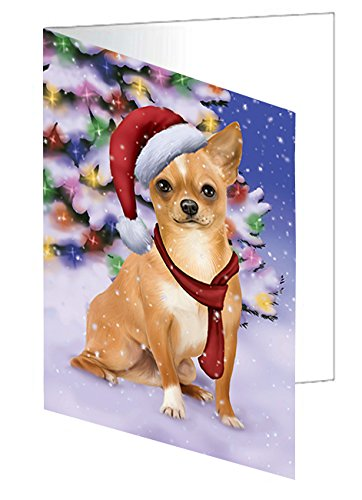 Winterland Wonderland Chihuahua Puppy Dog In Christmas Holiday Scenic Background Greeting Card (10)