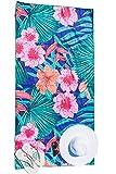 Bondi Safari Microfiber Beach Towel - Quick Dry, Sand Free, Travel Beach Towel for Beach, Travel, Outdoor, for Women, Incl Pouch 63x31(Tropical Blue, Large)