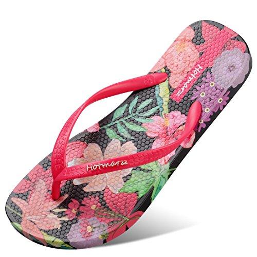 Hotmarzz Women's Flowers Fruits Pattern Summer Beach Colorful Slippers Tongs Sandals Flat Slides Size 7 B(M) US / 38 EU / 39 CN, Flower, Black