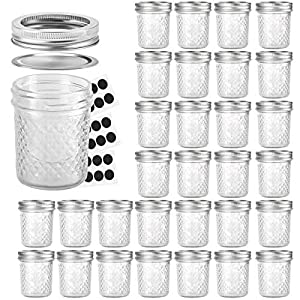 Mason Jars 6 OZ, VERONES 30 PACK 6oz Mason jars Canning Jars Jelly Jars With Lids, Ideal for Jam, Honey, Wedding Favors, Shower Favors, Baby Foods