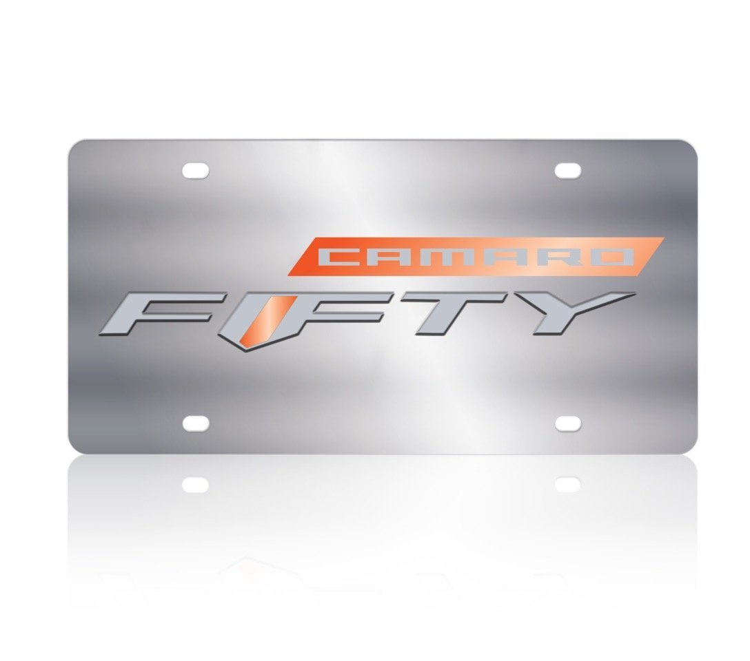Camaro Fifty Badge Orange Mirror Bar w Gray Camaro Gray Fifty w Orange Mirror Insert 1305N-1FIFTY Eurosport Daytona Stainless Steel License Plate