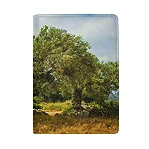 Olive Olive Trees in Olive Gardens Blocking Print Passport Holder Cover Case Travel Luggage Passport Wallet Card Holder Made with Leather for Men Women Kids Family
